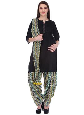 Black N Yellow Pure Cotton Patiala Suit