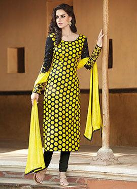 Black N Yellow Churidar Suit