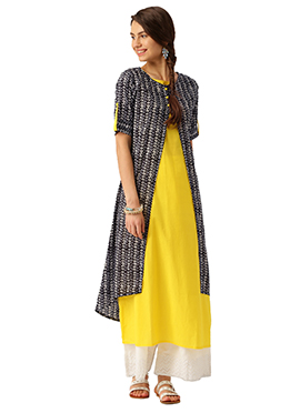 Black N Yellow Cotton Kurti