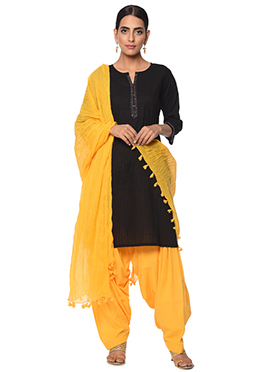 Black N Yellow Cotton Patiala Suit
