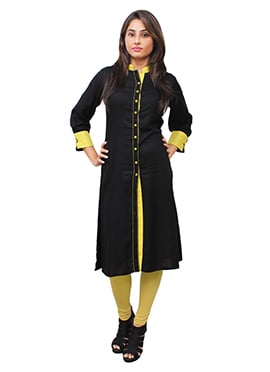 Black N Yellow Cotton Rayon Kurti