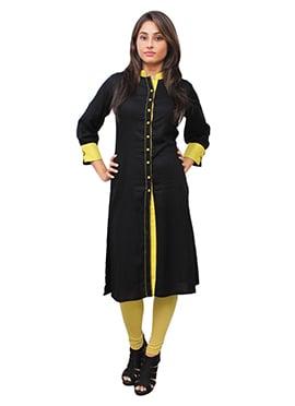 Black N Yellow Cotton Rayon Kurti