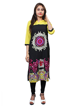 Black N Yellow Crepe Kurti
