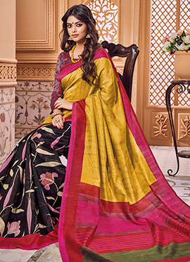 Black N Yellow Half N Half Saree