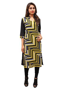 Black N Yellow Polyester Kurti