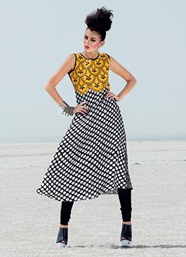 Black N Yellow Printed Anarkali Kurti