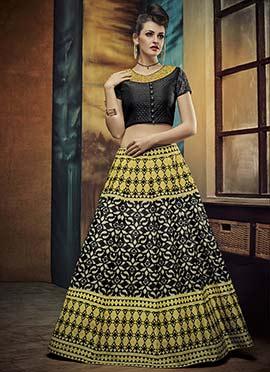 Black N Yellow Umbrella Lehenga Choli