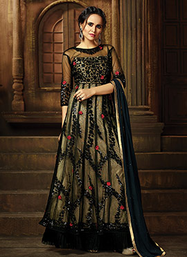 Black Net Abaya Style Anarkali Suit