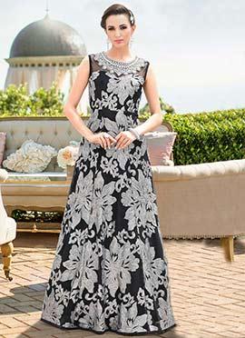Black Net Anarkali Gown
