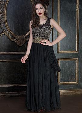 Black Net Draped Gowns