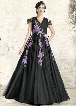 Black Net Embroidered Flared Gown