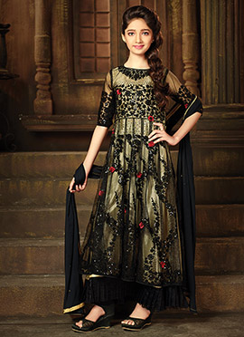 Black Net Kids Anarkali Suit