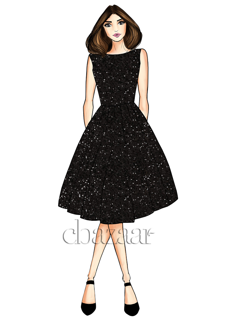 85c1246c4101 Buy Black net Midi Dress, Sequins, dresses and gown Online Shopping