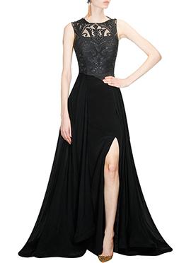 Black Net N Crepe Silk Gown