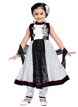 Black Net N Satin Blend Kids Anarkali Suit