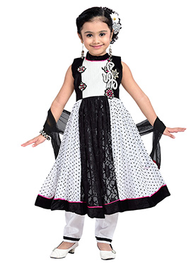 Black Net N Satin Blend Teens Anarkali Suit