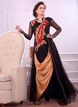 Black Net N Velvet Drape Suit