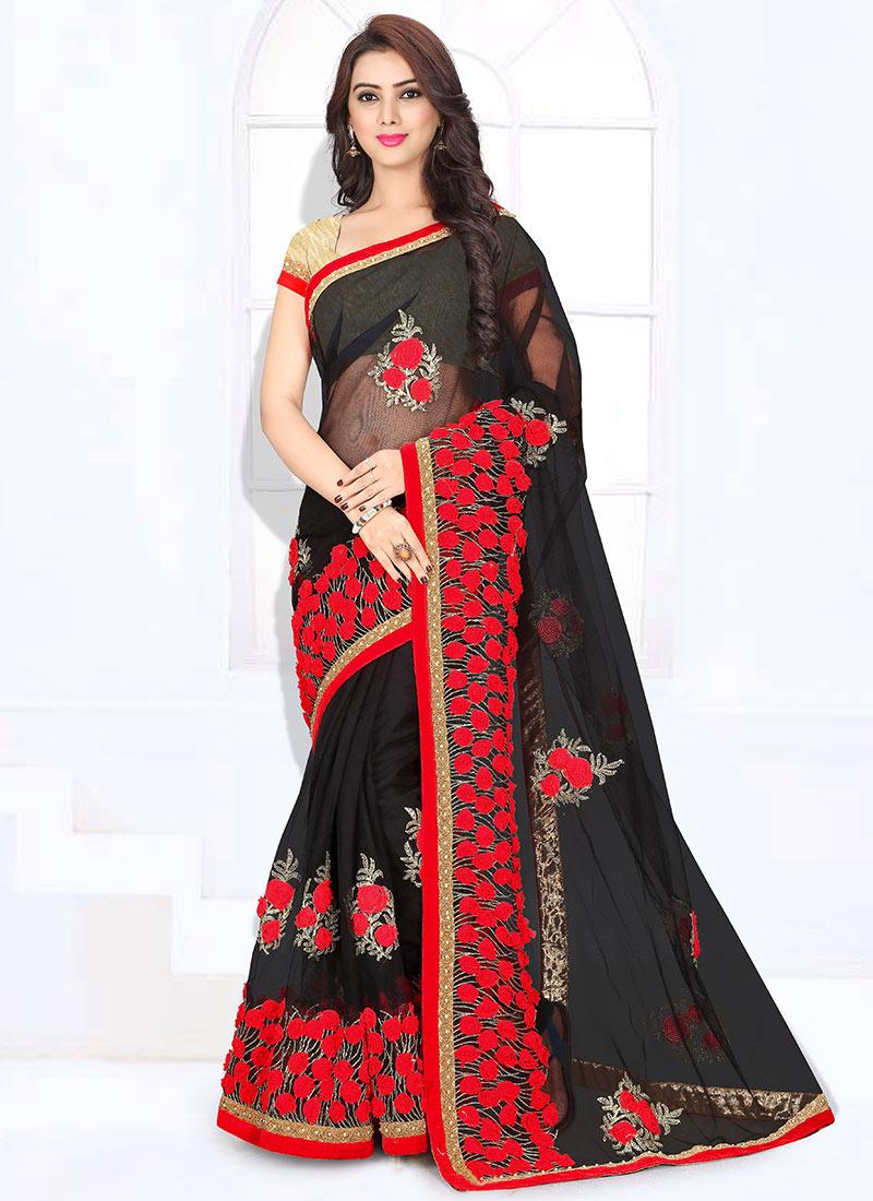 Buy Black Net Saree Sari Online Shopping Saspats101