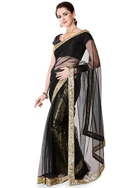 Black Net Sequins Embellished Border Saree