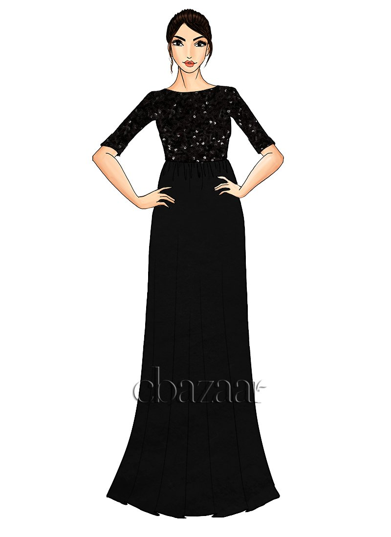 Buy Black Net Sequins Embroidered Gown, Sequins, dresses and gown ...
