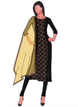 Black Panelled Dupion Silk Churidar Suit