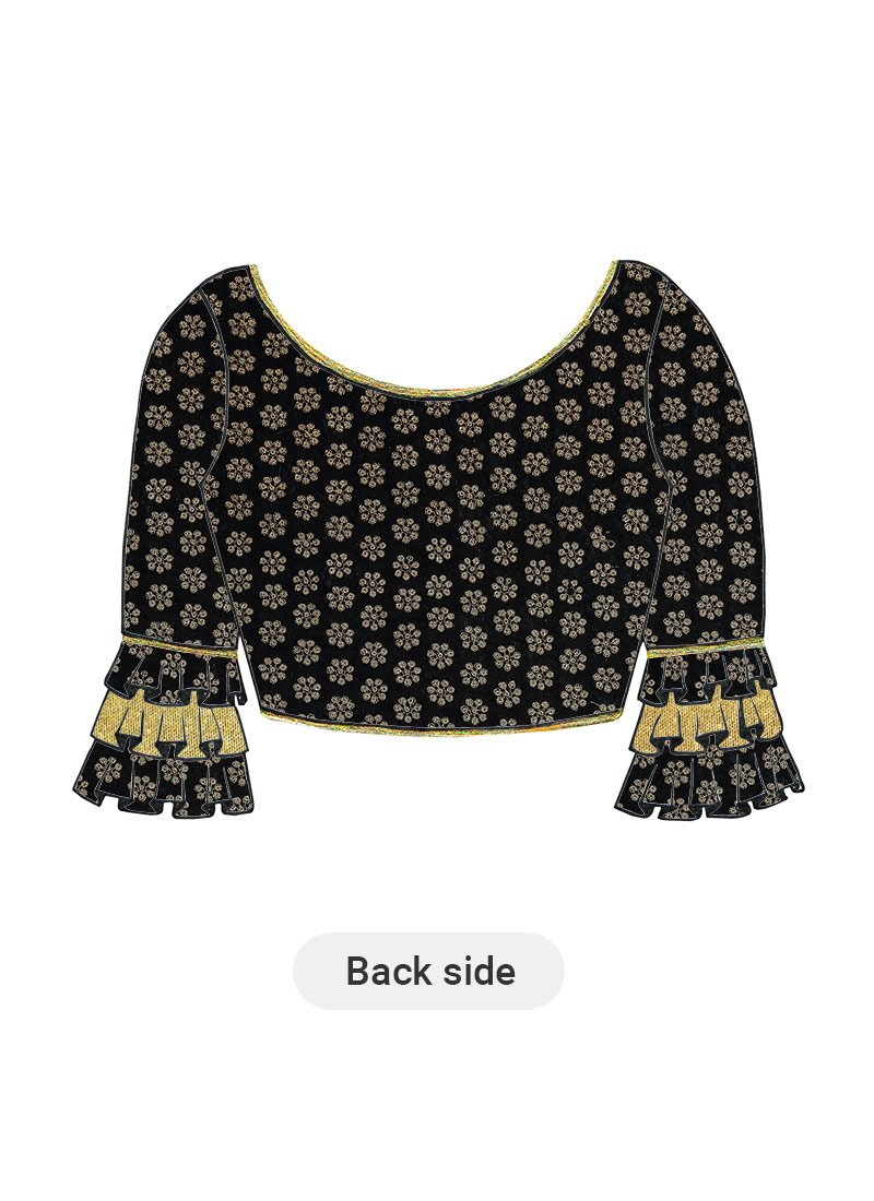 8873568ae92b7 Buy Black Patterned Silk Blouse, Embroidered, blouse Online Shopping