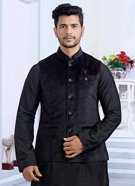 Black Plain Nehru Jacket