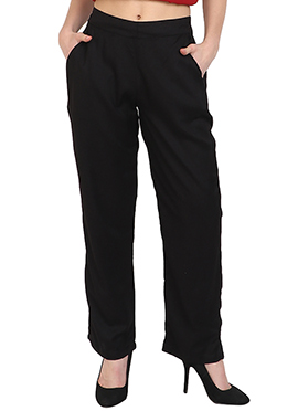 Black Plain Straight Pant
