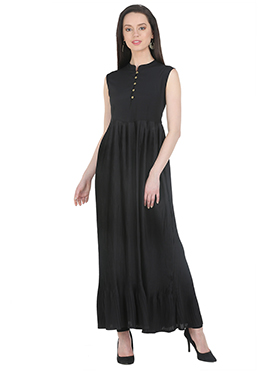 Black Polyester Long Dress