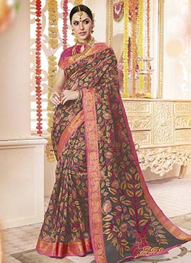 Black Polyester Saree