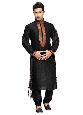 Black PRDP Embroidered Kurta Pyjama