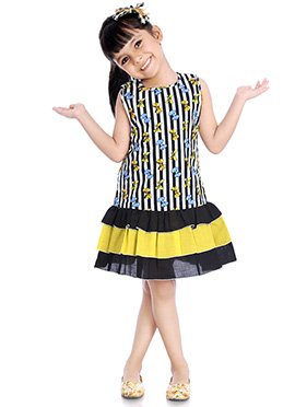 Black Printed Kids Dress