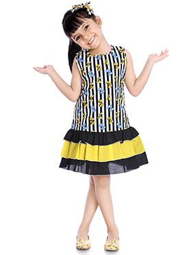 Black Printed Kids Dress