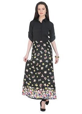 Black Printed Polyester Long Dress