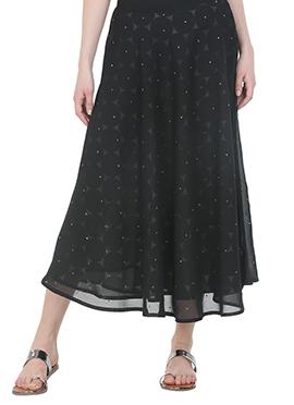Black Printed Rayon Skirt