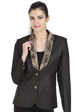 Black Printed Terry Woolo Jacket
