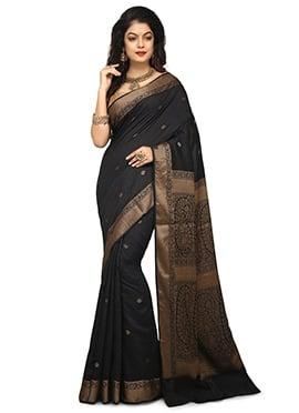f9e81fdac35dea Black Pure Benarasi Silk Saree doodle