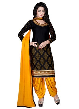 Black Pure Cotton Patiala Suit