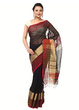 Black Pure cotton Saree