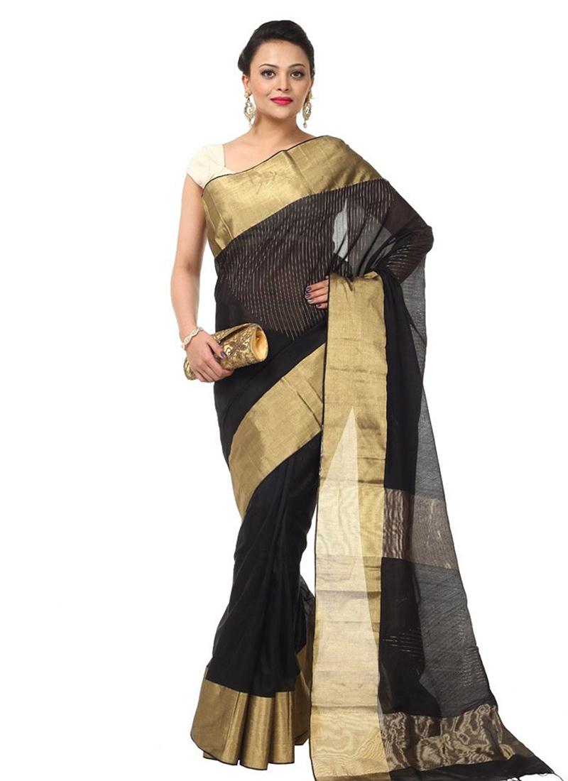 022ce77aa634a0 Buy Black Pure cotton Saree