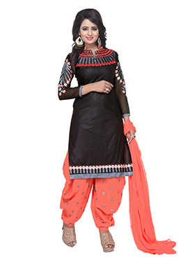Black Pure Cotton Semi Patiala Suit