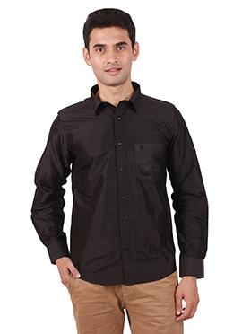 Black Pure Raw Silk Shirt