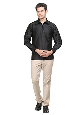 Black Pure Silk Classic Shirt