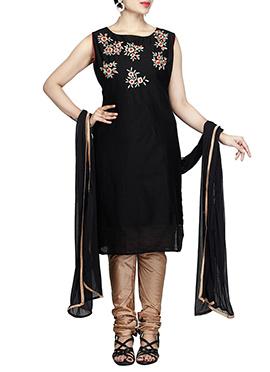 Black Chanderi Pure Silk Cotton Churidar Suit