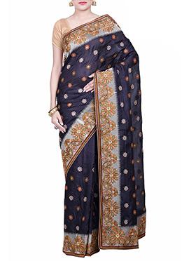 Black Pure Silk Embroidered Saree