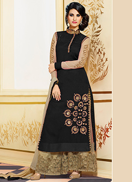 Black Pure Silk Palazzo Suit