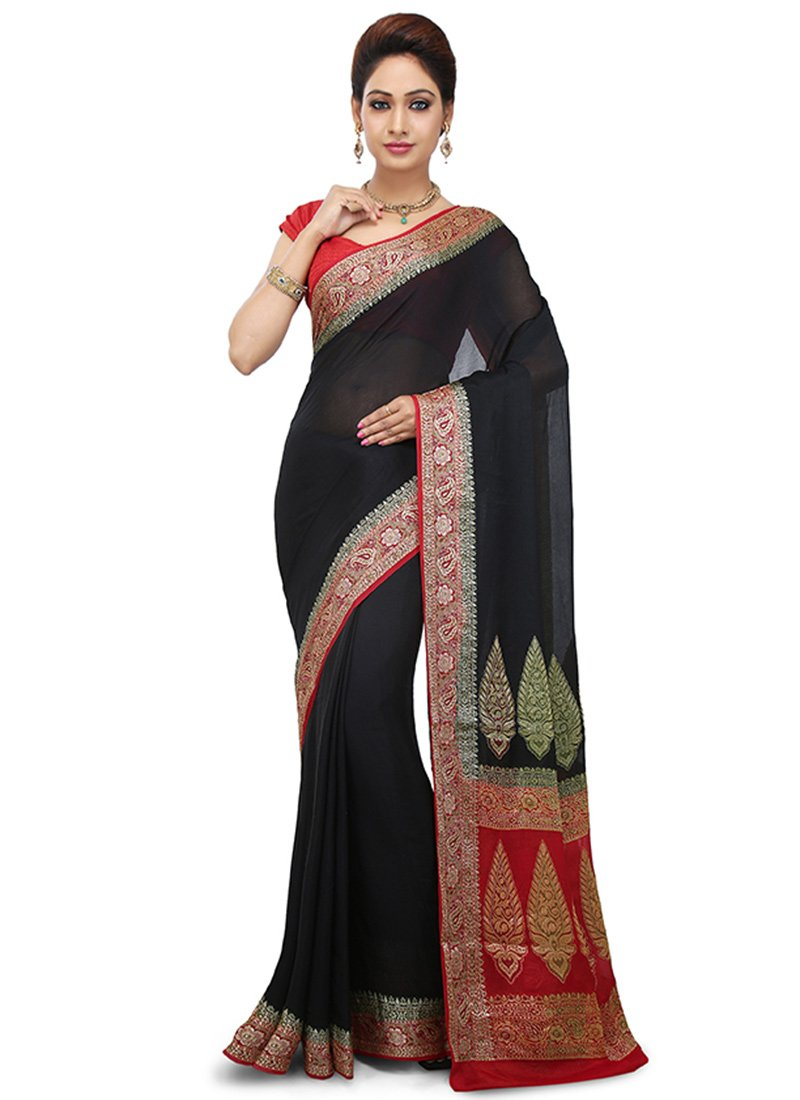 Buy Black Pure Silk Saree Zari Sari Online Shopping