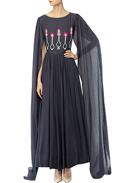 Black Raw Silk Indowestern Set
