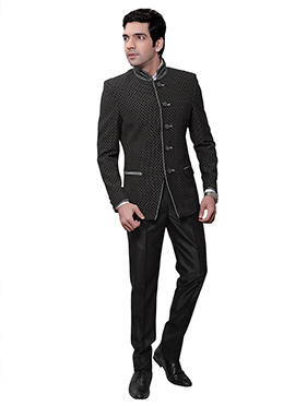 Black Rayon Bandhgala Suit