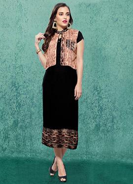Black Rayon Cotton Linen Kurti